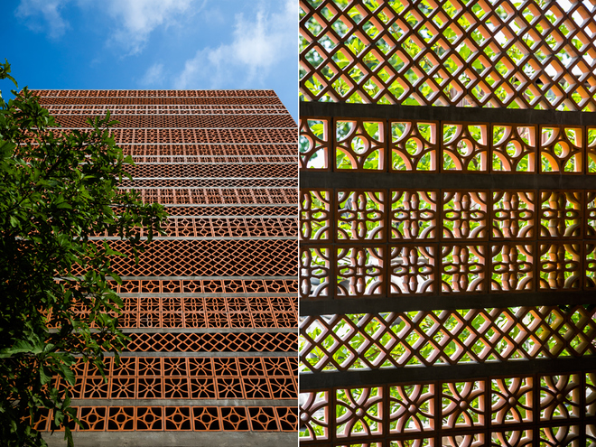 Các vật liệu địa phương được tận dụng nhằm giảm chi phí xây dựng, tạo nét riêng cho công trình. Gạch nung hoa gió với hoa văn khác nhau tạo ra một mặt đứng ấn tượng giúp thông gió, che mát và tăng tính an ninh cho gia chủ.