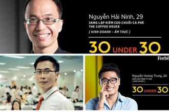 3 doanh nhân trẻ Việt Nam là Nguyễn Hải Ninh - CEO The Coffee House, Nguyễn Hoàng Trung - CEO Lozi, Nguyễn Hoàng Hải - CEO Canavi vừa lọt vào danh sách những gương mặt dưới 30 tuổi nổi bật nhất châu Á năm 2017 do tạp chí Forbes bình chọn