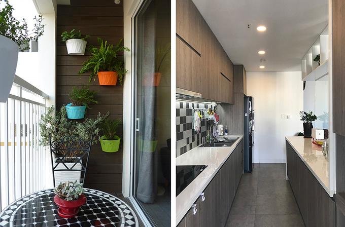 Bếp và ban công cũng có vật liệu và màu sắc hài hòa với không gian chung.