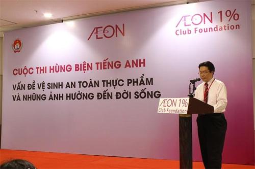 Ông Sasamori Hiroaki - Phó Tổng Giám Đốc Khối văn phòng Công ty TNHH Aeon Việt Nam phát biểu tại cuộc thi