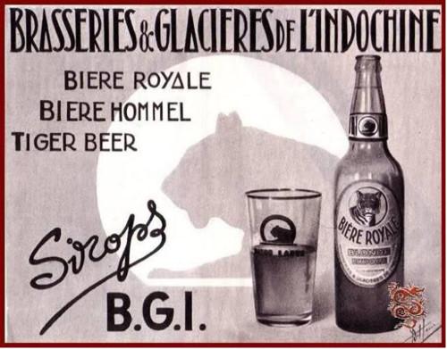"""BGI có lịch sử từ năm 1927, ngoài Bia 33, BGI còn sản xuất các loại bia mang nhãn hiệu Bière Royale, Bière Hommel (bia nhẹ) và Tiger Beer (người ta thường gọi là """"bia con cọp"""" vì có nhãn hiệu hình con cọp. BGI đã tự hào là """"Một loại bia 5 châu lục"""" thông qua việc xuất cảng Bia 33 ra khắp thế giới TƯ LIỆU"""