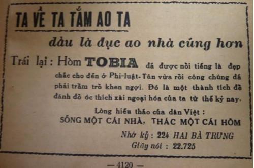 """Trên các mặt báo, những loại hòm này được quảng cáo một cách rầm rộ với những từ ngữ ấn tượng. Ngay từ thời này những cụm từ """"Người Việt dùng hàng Việt"""" hay """"Ta về ta tắm ao ta, dẫu là đục ao nhà cũng hơn""""… cũng đã được sử dụng để kêu gọi khách hàng"""