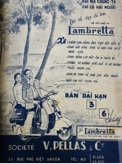 Quảng cáo của loại xe thịnh hành nhất của Sài Gòn ở giữa thế kỷ 20. Quảng cáo lấy điểm nhấn vào hình ảnh tình yêu đôi lứa cũng như những lợi ích của chiếc xe TƯ LIỆU
