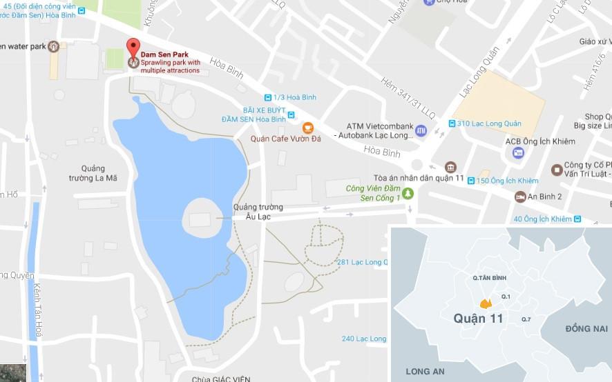 Liên hoan ẩm thực Đất Phương Nam năm nay diễn ra tại công viên Đầm Sen (đường Hòa Bình, quận 11, TP.HCM). Ảnh: Google Maps.