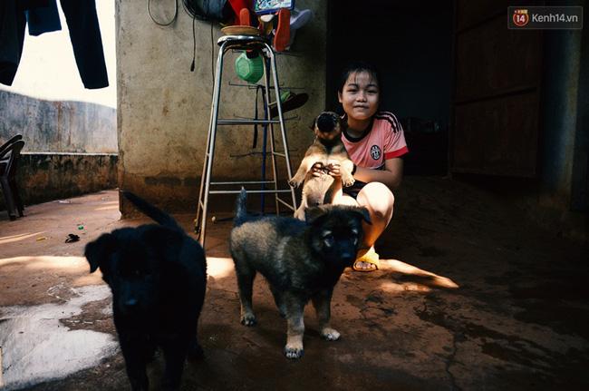 Bé Hương tại Thủ Đức đang chơi bên đàn chó con của mình. Chú chó cô bé đang bế nặng tới 6kg và ăn rất nhiều nhưng cả gia đình bé quyết giữ lại cả đàn để nuôi chứ không cho ai vì không nỡ chia lìa gia đình nhà cún dễ thương này.