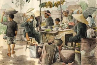 Cảnh chợ quê Nam bộ xưa (trích trong bộ tranh Monographie dessinée de l'Indochine (Chuyên khảo có minh họa về Đông Dương) do học sinh Trường Mỹ thuật Gia Định xuất bản năm 1935 đến 1938