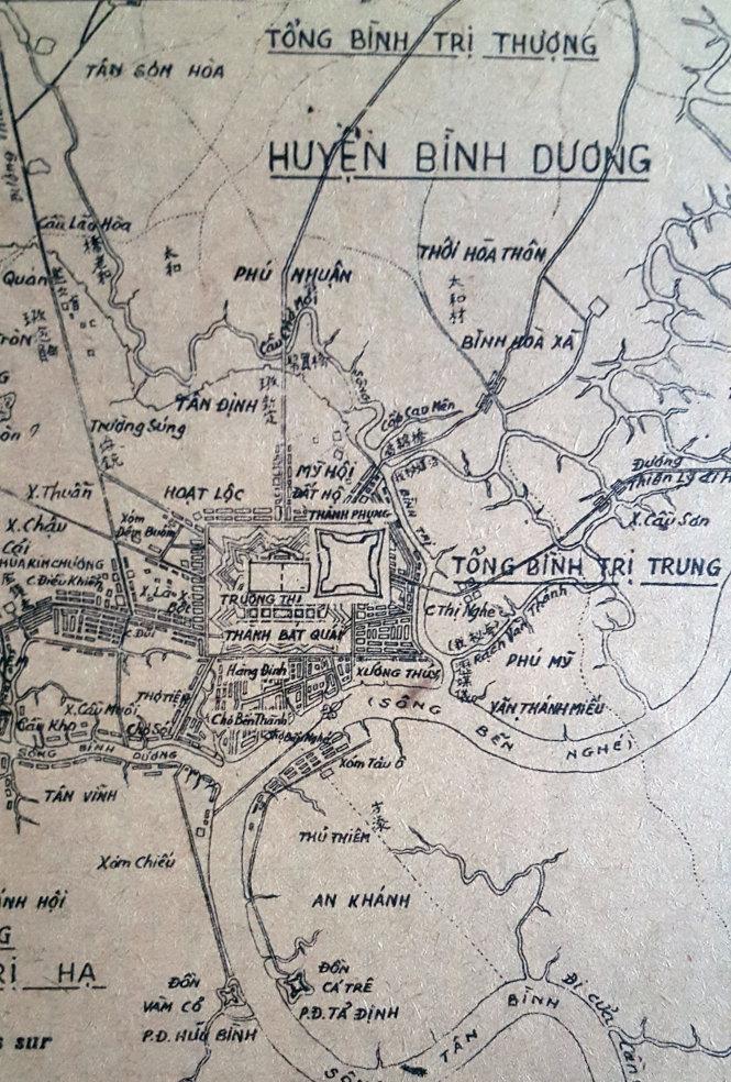 Vị trí Trường thi Hương Gia Định trên bản đồ Trần Văn Học 1815 - Ảnh: Địa chí Văn hóa TP.HCM 1987