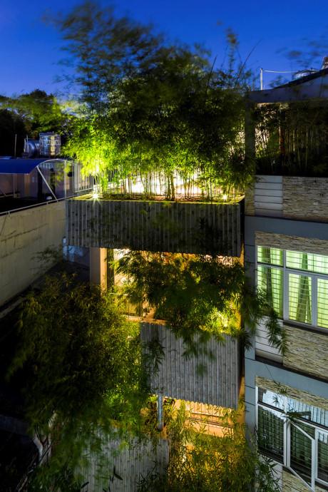 """Nằm trong loạt dự án thiết kế """"nhà cây"""" của VTN Architect, công trình lấy ý tưởng chủ đạo từ cây tre."""