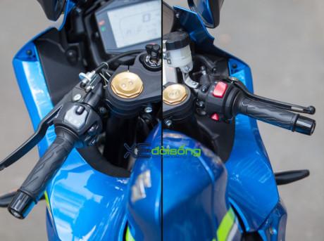 Hai bên công tắc với bên trái là nút chuyển chế độ chạy, xi-nhan và kèn, bên phải nút On/Off và đèn ưu tiên.