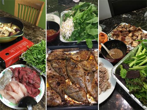 Nhờ có vườn rau, chị thỉnh thoảng mời bạn bè về nhà tổ chức nấu các món ăn Việt Nam như lẩu, bánh xèo, hay cá nướng cuốn bánh tráng và rau thơm...