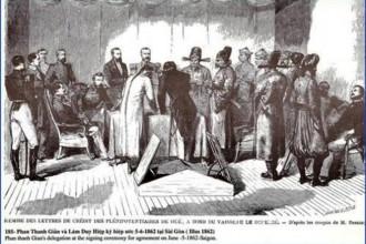 Trường thi Gia Định là nơi Phan Thanh Giản và Lâm Duy Hiệp ký hòa ước Sài Gòn với Pháp ngày 5-6-1862. Coi tranh chúng ta có thế hình dung nơi ký khá tạm bợ với khung vải phía sau treo tạm cho kín đáo, nghiêm túc - Tranh tư liệu