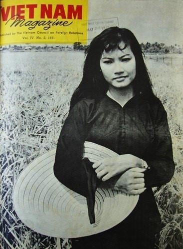 Nữ nghệ sĩ Bạch Lan Thanh đứng trên cánh đồng lúa vào mùa thu hoạch.