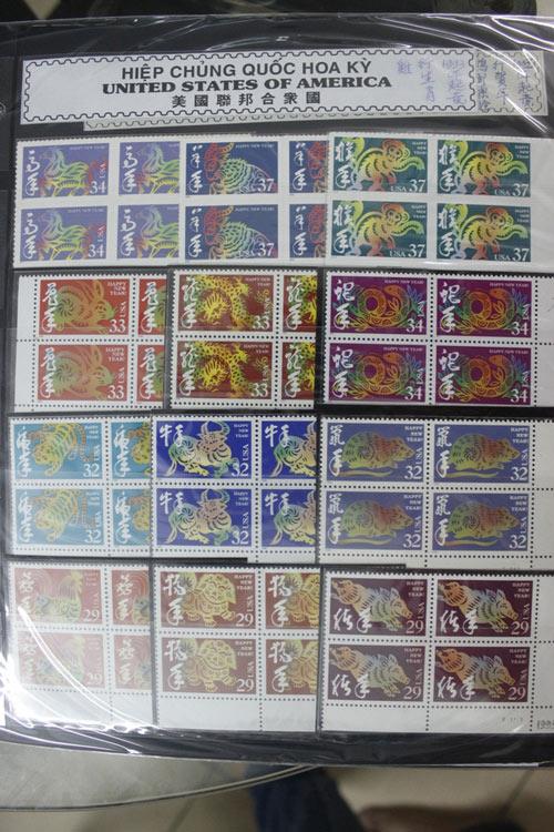 Bộ tem tất nhiên đủ 12 con Giáp của Mỹ.