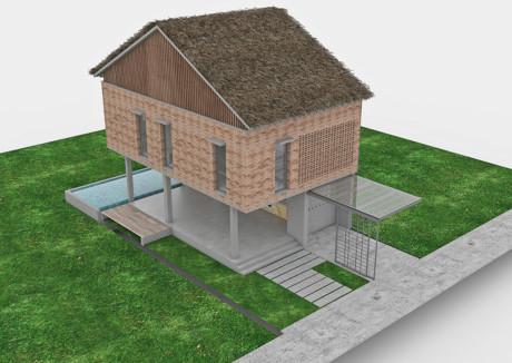 Căn nhà như ngôi nhà sàn qua hình vẽ 3D.