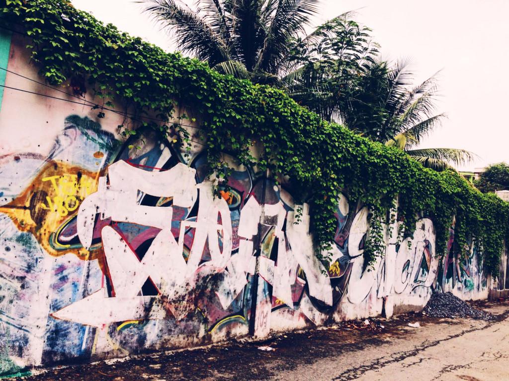 Đây là con hẻm khá vắng với điểm thu hút là màu xanh của những bức tường vẽ và cây cối xung quanh. Một con hẻm dài với những nét vẽ xanh tươi không chỉ là nơi bạn dừng chân nghỉ mát mà còn là điểm chụp hình lý tưởng.