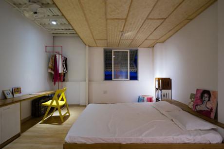 Những liếp tre trên trần là điểm nhấn cho hai phòng ngủ của ngôi nhà.