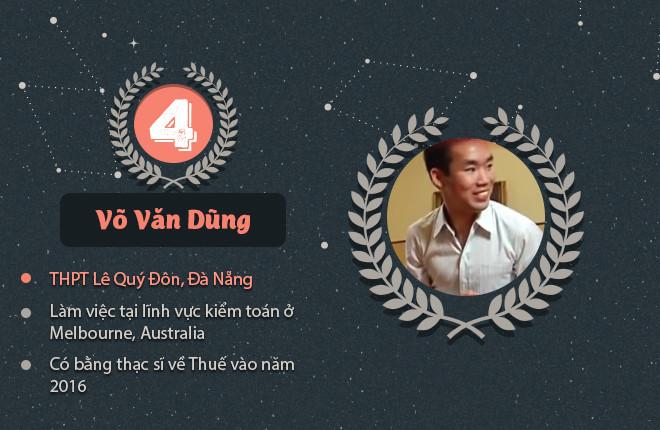 Võ Văn Dũng, cựu học sinh trường THPT Lê Quý Đôn, Đà Nẵng, là quán quân năm thứ tư. Dũng tốt nghiệp ĐH Kỹ thuật Swinburne, làm việc trong lĩnh vực kiểm toán tại Melbourne (Australia). Anh đã có bằng thạc sĩ về thuế năm 2016.