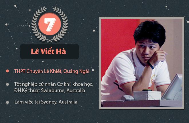 Người giành vòng nguyệt quế chung cuộc lần thứ bảy là Lê Viết Hà (THPT chuyên Lê Khiết, Quảng Ngãi). Tốt nghiệp cử nhân Cơ khí, Khoa học tại ĐH Kỹ thuật Swinburne, anh làm việc tại Sydney (Australia).