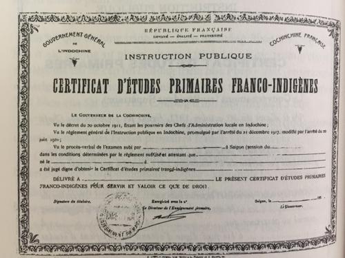 Một mẫu bằng cũ năm 1925. Ảnh tư liệu của nhà nghiên cứu Nguyễn Đình Đầu