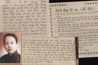 """Nhà văn Bà Tùng Long; thể lệ đăng cùng một vài lời rao """"kết bạn"""" trên báo Sài Gòn xưa"""