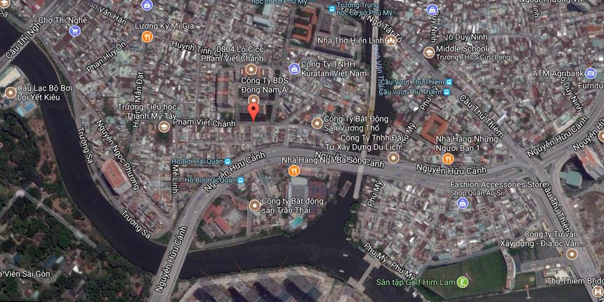 Khu phố Nhật Bản ở khu vực đường Phạm Viết Chánh, quận Bình Thạnh (chấm đỏ).