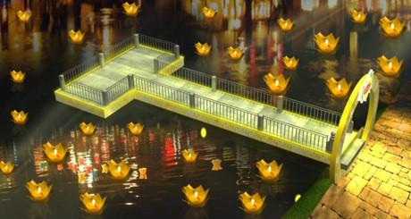 Phối cảnh khu thả hoa đăng tại sự kiện.