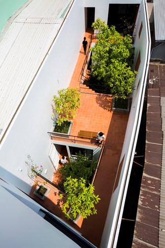 Với lợi thế chiều dài 40m, kiến trúc sư tạo ra nhiều khoảng trống xen giữa ngôi nhà.
