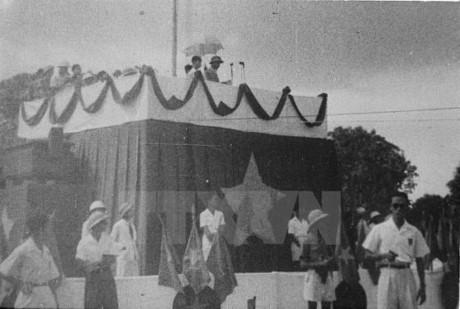 Khoảnh khắc Chủ tịch Hồ Chí Minh đọc bản Tuyên ngôn độc lập trước hàng triệu đồng bào cả nước. Ảnh: Tư liệu TTXVN.