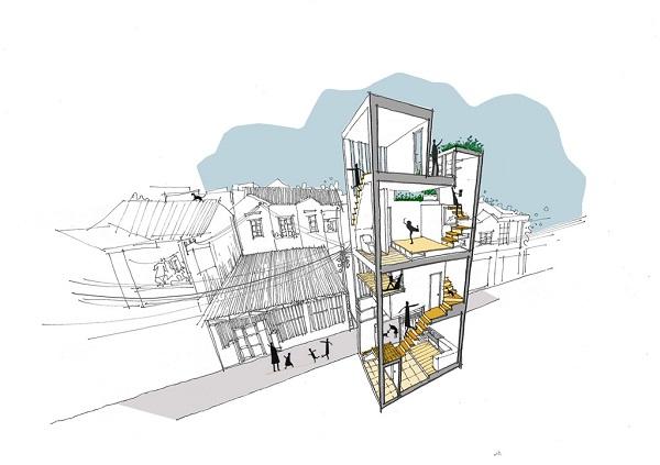 Phác họa 3D của công trình.