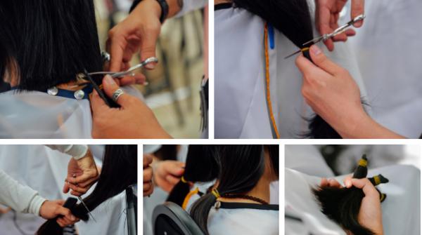 Những mái tóc sẽ được đan tết trước khi gửi tặng cho các khoa điều trị ung thư vú trên cả nước.