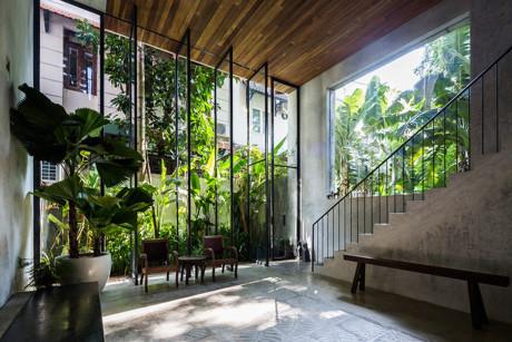 Dù có nhiều mặt thoáng và tường kính nhưng hệ thống cây xanh được bài trí hợp lý đã giúp cho ngôi nhà này luôn xanh mát và ngập tràn ánh sáng.