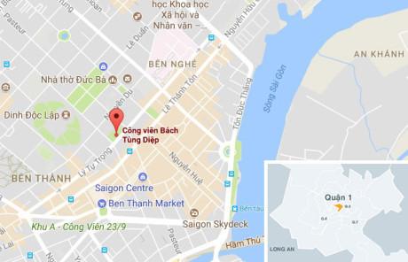 Vị trí công viên Bách Tùng Diệp, quận 1, TP.HCM. Ảnh: