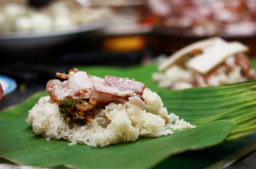 Xôi thịt được yêu thích của xe xôi Tám Cẩu.