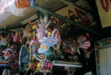 Các loại đèn phổ biến là đèn hình rồng, hình cá chép, bươm bướm... Ảnh: Douglas Ross.