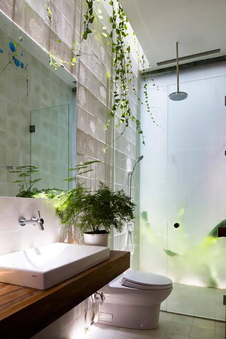 Sử dụng cây xanh để tô điểm cho phòng tắm sẽ giúp cho không gian này trở nên thư giãn và sinh động hơn hẳn.
