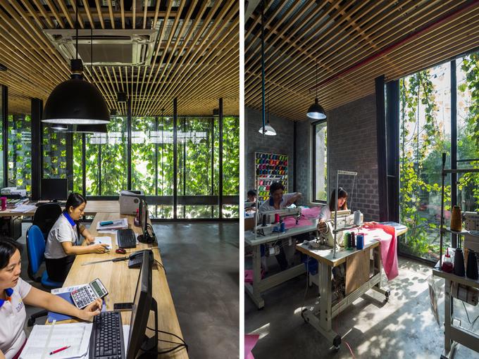 Dù làm việc trong nhà xưởng nhưng người lao động vẫn có thể tiếp cận với thiên nhiên khi nhìn thấy cây xanh, đón nắng nhẹ chiếu xuyên qua cửa kính.