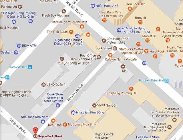 Nằm ở vị trí đắc địa ngay trung tâm thành phố, con phố dài hơn 100m bắt đầu từ đường Hai Bà Trưng, dọc theo Bưu điện Thành phố, nối đến đường Công xã Paris (Nhà thờ Đức Bà) - Ảnh: Google Maps