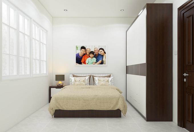 Phòng ngủ của bà được bố trí ở tầng 2 thuận tiện cho việc đi lại của người cao tuổi. Nội thất bố trí đơn giản, có thể treo ảnh gia đình để tạo cảm giác ấm cúng.