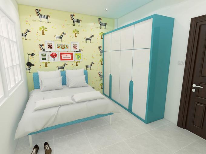 Phòng của con trai nhỏ là nơi duy nhất sử dụng nhiều màu sắc nổi bật để đem lại sự hứng khởi, vui vẻ cho bé.