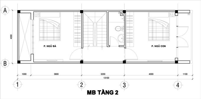 Tầng 2-3 là khu vực bố trí phòng ngủ. Mỗi tầng chỉ có một WC để tối đa diện tích phòng ngủ. Tầng trên cùng có một phòng thờ nhỏ và sân phơi.
