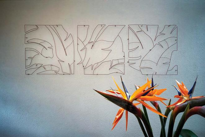. mảng trang trí trên tường mộc mạc mà thu hút.