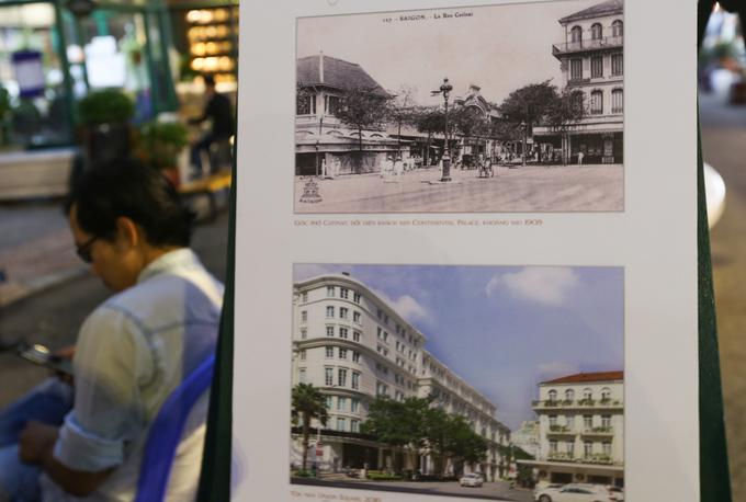 Góc phố đường Catinat năm 1905 và năm 2016 có sự thay đổi rõ rệt, chỉ còn khách sẹn Continental vẫn nguyên vẹn kiến trúc.