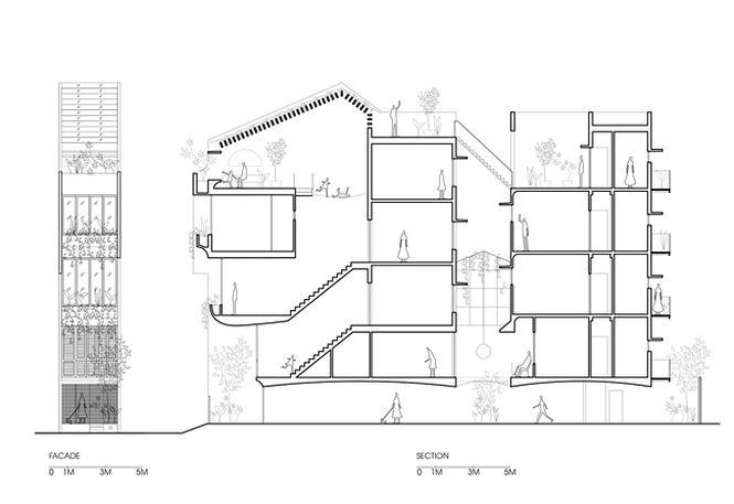 """Bản vẽ mặt cắt của """"ngôi nhà lồng trong nhà"""" ở quận 3, Tp.HCM."""