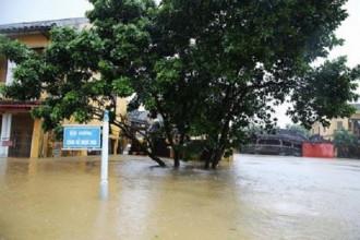 Nước lũ dâng cao ở khu vực bờ sông Hoài. Ảnh: Na Sơn