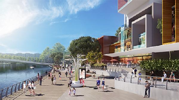 Phố đi bộ Kenton River Walk nằm trong khu phức hợp Kenton Node Hotel Complex, tọa lạc tại khu Nam Sài Gòn, TP HCM. Đây là dự án do Công ty Tài Nguyên làm chủ đầu tư, với tổng vốn lên đến một tỷ USD. Ảnh: Quỳnh Trần.