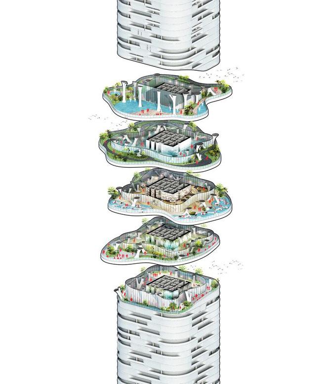 Thiết kế công trình thể hiện ý tưởng đất chạm trời và ngược lại. Ảnh: Archdaily