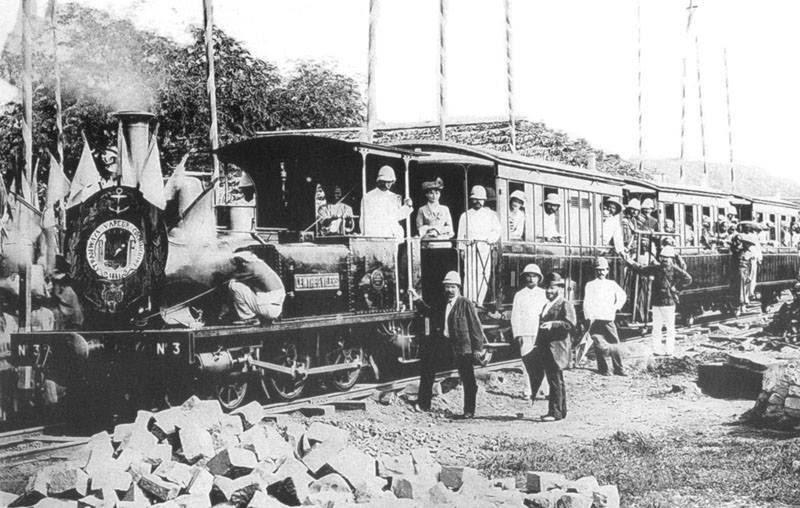 Khai trương chạy thử tuyến tàu Hỏa đầu tiên ở Đông Dương, tuyến Sài Gòn- Mỹ Tho năm 1881. (Ảnh: Internet)