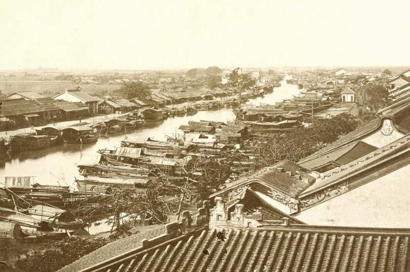 Saigon, Chợ Lớn năm 1888, lúc này thuyền buôn của người Hoa đã tấp nập. (Ảnh: Internet)