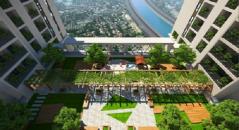 Vườn treo rộng 670m2 trên tầng 21 tòa tháp căn hộ Viva Riveside.