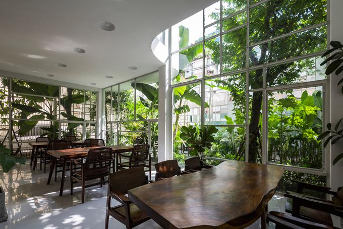 """Công trình được hoàn thành vào tháng 3, nhưng phải 5 tháng sau, các kiến trúc sư mới có dịp quay lại để chụp ảnh nhà. """"Chúng tôi rất hạnh phúc khi thấy cây xanh đã phát triển xanh tốt tới vậy"""", nhà thiết kế An-Ni Lê chia sẻ."""